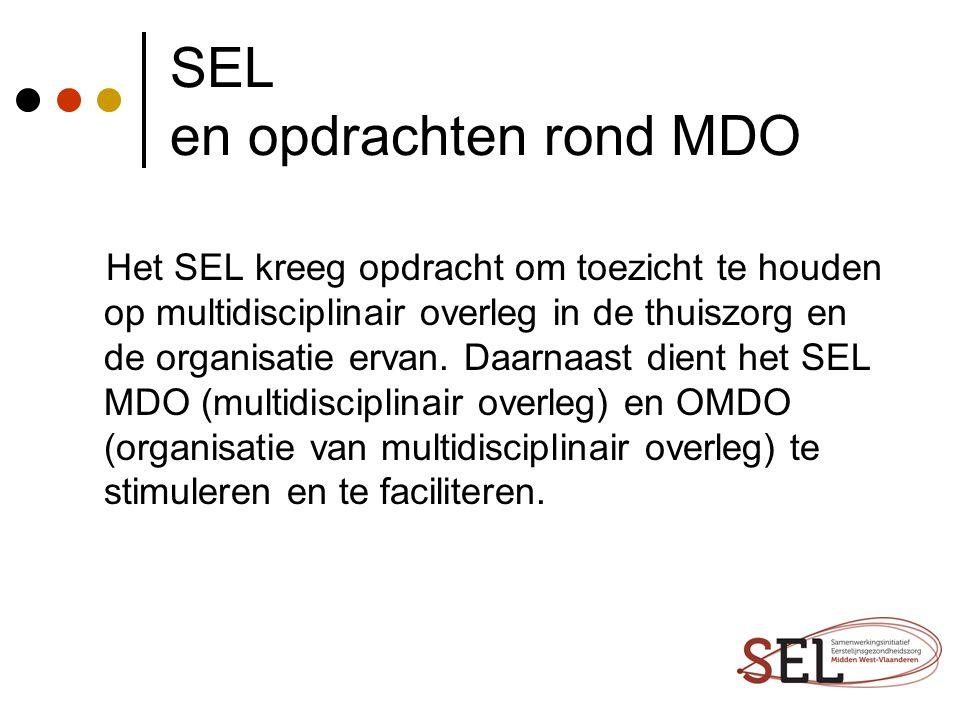 SEL en opdrachten rond MDO Het SEL kreeg opdracht om toezicht te houden op multidisciplinair overleg in de thuiszorg en de organisatie ervan. Daarnaas