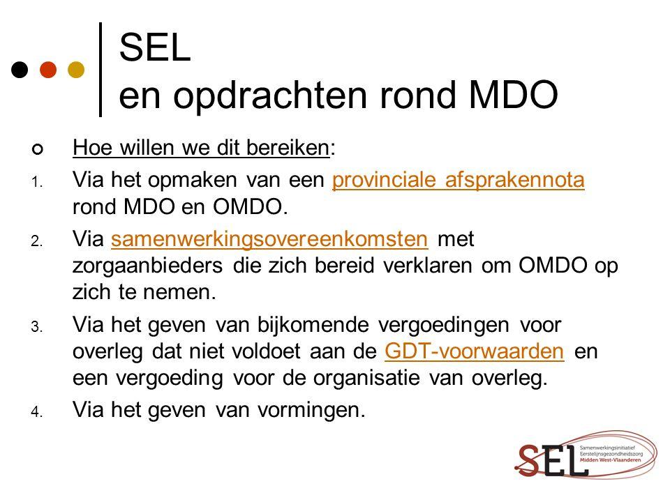 SEL en opdrachten rond MDO Hoe willen we dit bereiken: 1. Via het opmaken van een provinciale afsprakennota rond MDO en OMDO.provinciale afsprakennota