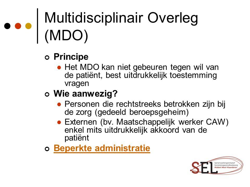 Multidisciplinair Overleg (MDO) Principe Het MDO kan niet gebeuren tegen wil van de patiënt, best uitdrukkelijk toestemming vragen Wie aanwezig? Perso