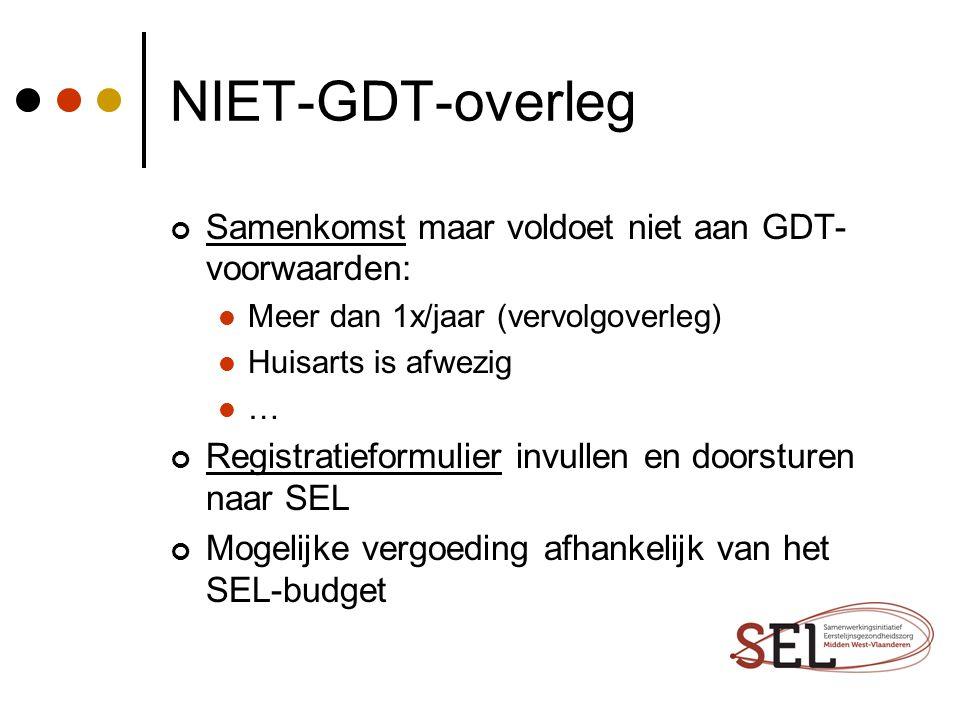 NIET-GDT-overleg Samenkomst maar voldoet niet aan GDT- voorwaarden: Meer dan 1x/jaar (vervolgoverleg) Huisarts is afwezig … Registratieformulier invul