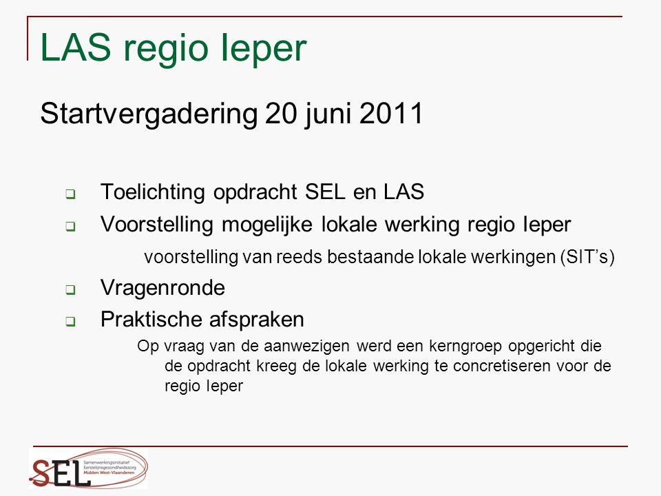 SEL MWVL heeft 6 Lokale Antennepunten SEL: LAS LAS LAS LAS LAS LAS Diksmuide Ieper Izegem Poperinge Roeselare Tielt Thuiszorgplatform ThuiszorgplatformThuiszorgplatform Lo-Reninge Langemark-Poelkapelle Heuvelland Ieper Zonnebeke Mesen