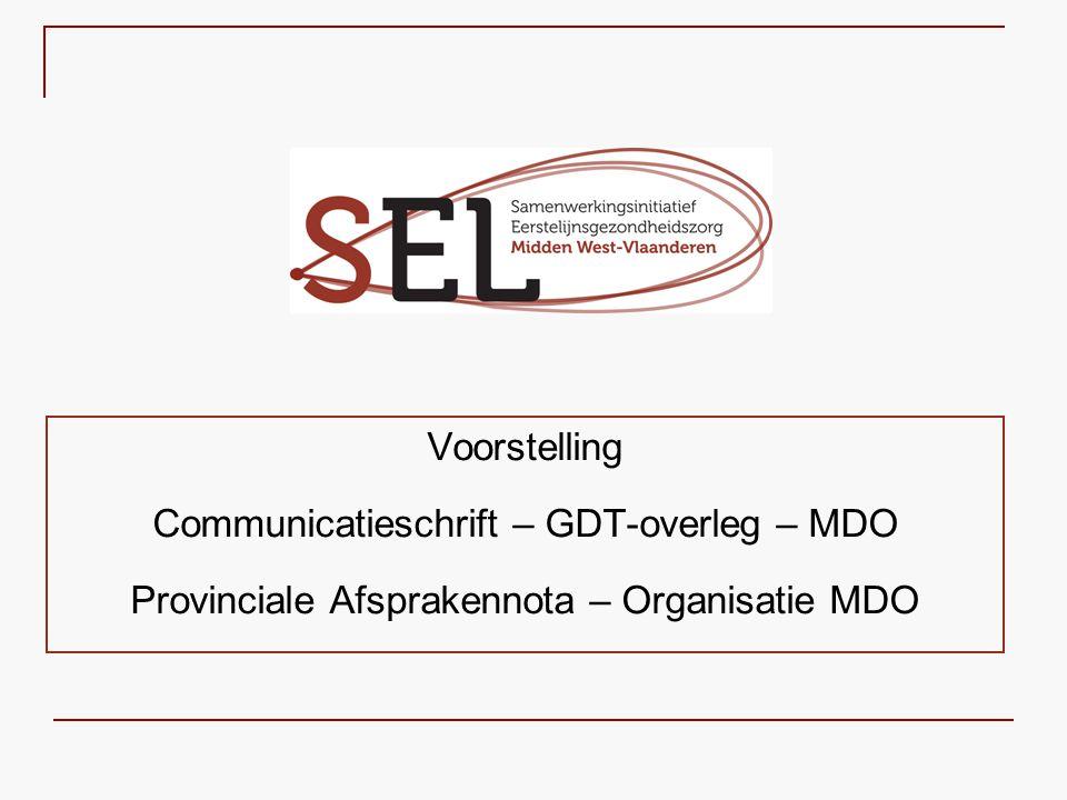 Voorstelling Communicatieschrift – GDT-overleg – MDO Provinciale Afsprakennota – Organisatie MDO