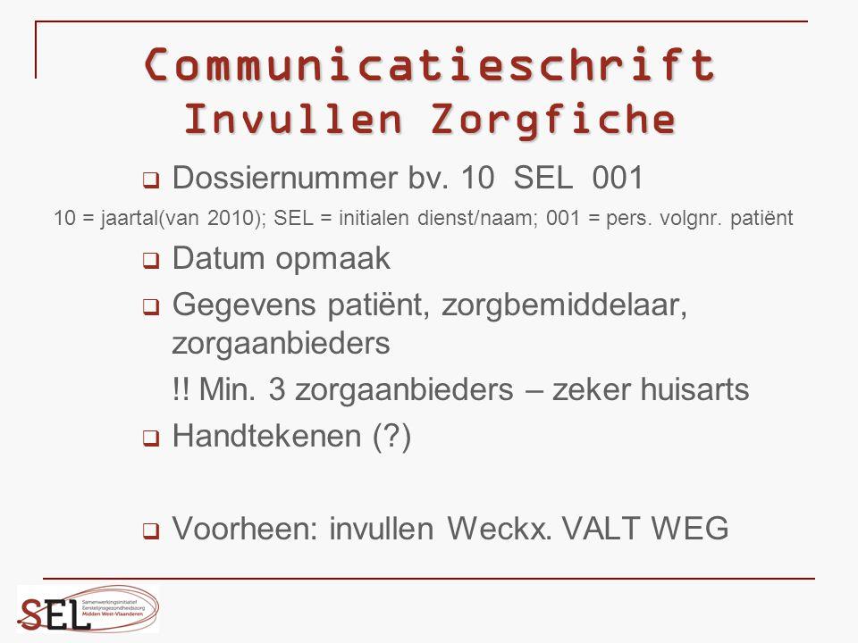 Communicatieschrift Invullen Zorgfiche  Dossiernummer bv. 10 SEL 001 10 = jaartal(van 2010); SEL = initialen dienst/naam; 001 = pers. volgnr. patiënt