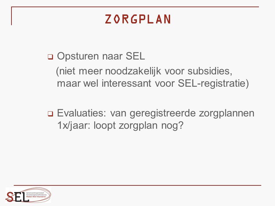 ZORGPLAN  Opsturen naar SEL (niet meer noodzakelijk voor subsidies, maar wel interessant voor SEL-registratie)  Evaluaties: van geregistreerde zorgp