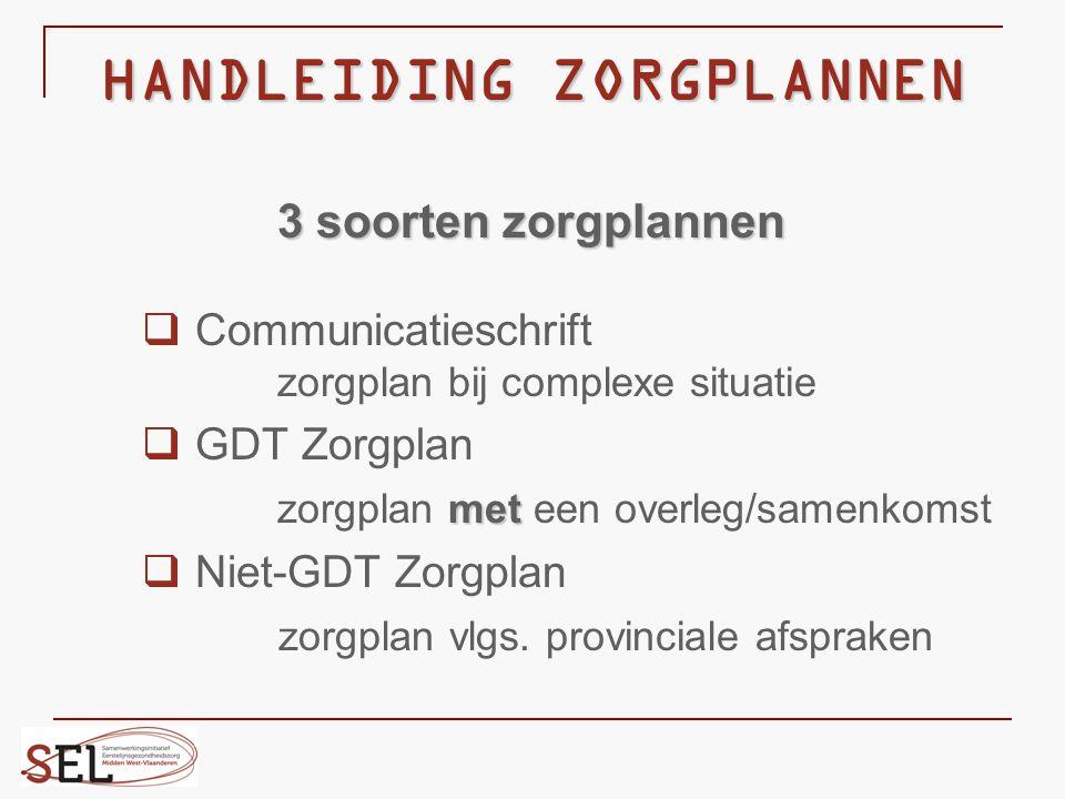 HANDLEIDING ZORGPLANNEN 3 soorten zorgplannen  Communicatieschrift zorgplan bij complexe situatie  GDT Zorgplan met zorgplan met een overleg/samenko
