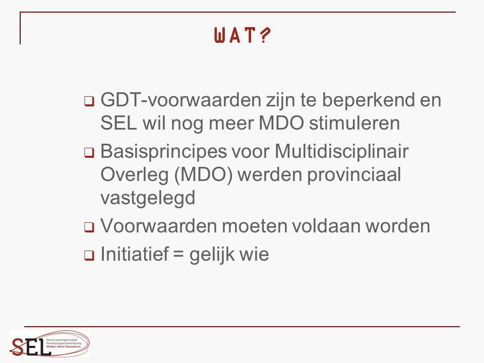 WAT?  GDT-voorwaarden zijn te beperkend en SEL wil nog meer MDO stimuleren  Basisprincipes voor Multidisciplinair Overleg (MDO) werden provinciaal v