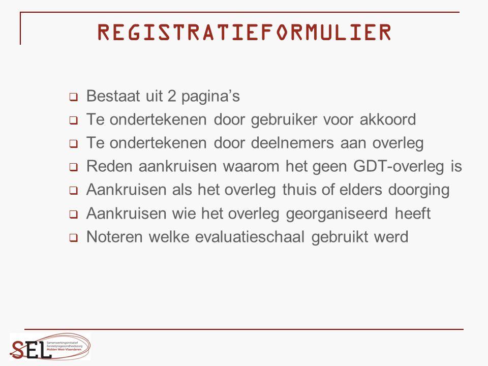 REGISTRATIEFORMULIER  Bestaat uit 2 pagina's  Te ondertekenen door gebruiker voor akkoord  Te ondertekenen door deelnemers aan overleg  Reden aank