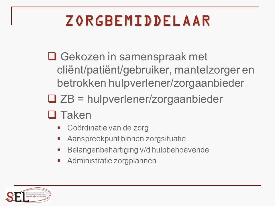ZORGBEMIDDELAAR  Gekozen in samenspraak met cliënt/patiënt/gebruiker, mantelzorger en betrokken hulpverlener/zorgaanbieder  ZB = hulpverlener/zorgaa