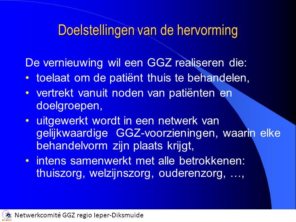 Netwerkcomité GGZ regio Ieper-Diksmuide Doelstellingen van de hervorming De vernieuwing wil een GGZ realiseren die: toelaat om de patiënt thuis te behandelen, vertrekt vanuit noden van patiënten en doelgroepen, uitgewerkt wordt in een netwerk van gelijkwaardige GGZ-voorzieningen, waarin elke behandelvorm zijn plaats krijgt, intens samenwerkt met alle betrokkenen: thuiszorg, welzijnszorg, ouderenzorg, …,