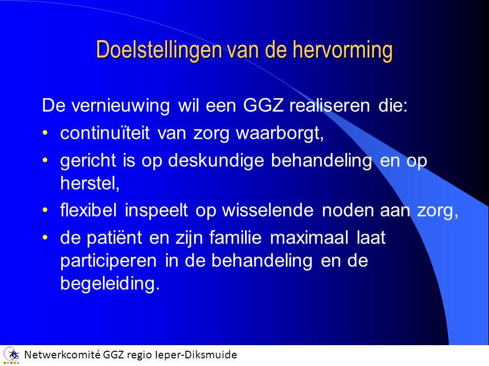 Netwerkcomité GGZ regio Ieper-Diksmuide Doelstellingen van de hervorming De vernieuwing wil een GGZ realiseren die: continuïteit van zorg waarborgt, gericht is op deskundige behandeling en op herstel, flexibel inspeelt op wisselende noden aan zorg, de patiënt en zijn familie maximaal laat participeren in de behandeling en de begeleiding.