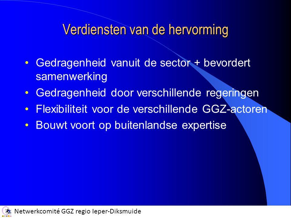 Netwerkcomité GGZ regio Ieper-Diksmuide Verdiensten van de hervorming Gedragenheid vanuit de sector + bevordert samenwerking Gedragenheid door verschillende regeringen Flexibiliteit voor de verschillende GGZ-actoren Bouwt voort op buitenlandse expertise