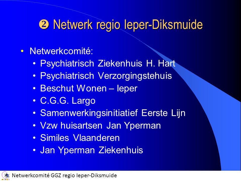 Netwerkcomité GGZ regio Ieper-Diksmuide  Netwerk regio Ieper-Diksmuide Netwerkcomité: Psychiatrisch Ziekenhuis H. Hart Psychiatrisch Verzorgingstehui