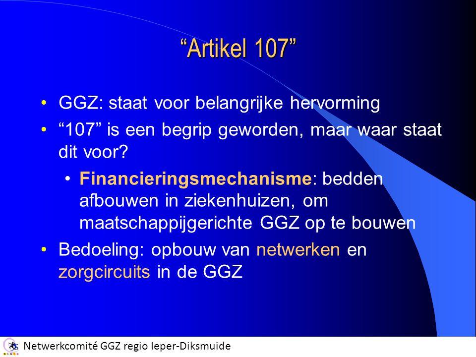 """Netwerkcomité GGZ regio Ieper-Diksmuide """"Artikel 107"""" GGZ: staat voor belangrijke hervorming """"107"""" is een begrip geworden, maar waar staat dit voor? F"""