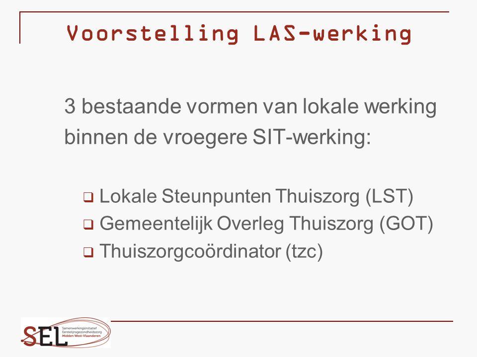 Voorstelling LAS-werking 3 bestaande vormen van lokale werking binnen de vroegere SIT-werking:  Lokale Steunpunten Thuiszorg (LST)  Gemeentelijk Ove
