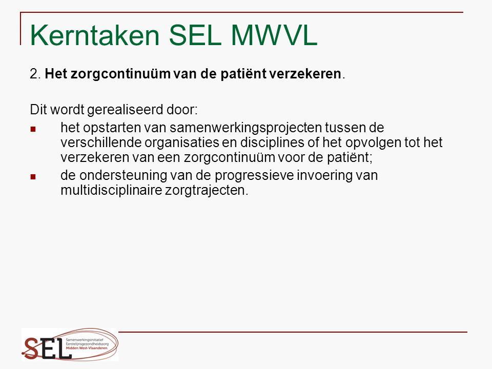 Kerntaken SEL MWVL 2. Het zorgcontinuüm van de patiënt verzekeren. Dit wordt gerealiseerd door: het opstarten van samenwerkingsprojecten tussen de ver