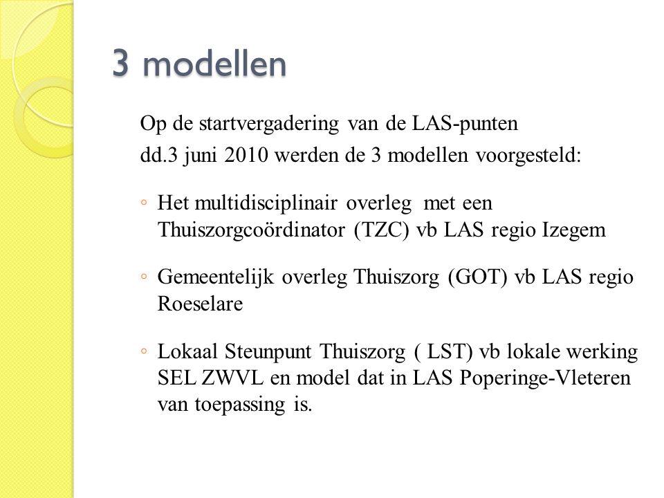 3 modellen Op de startvergadering van de LAS-punten dd.3 juni 2010 werden de 3 modellen voorgesteld: ◦ Het multidisciplinair overleg met een Thuiszorg