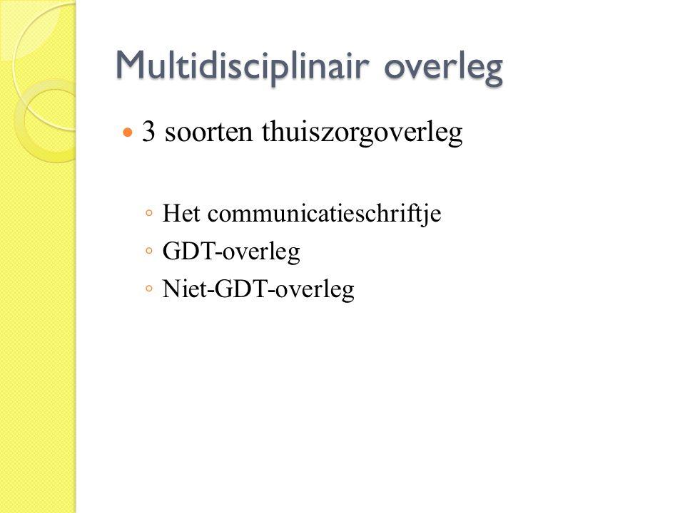 Multidisciplinair overleg 3 soorten thuiszorgoverleg ◦ Het communicatieschriftje ◦ GDT-overleg ◦ Niet-GDT-overleg