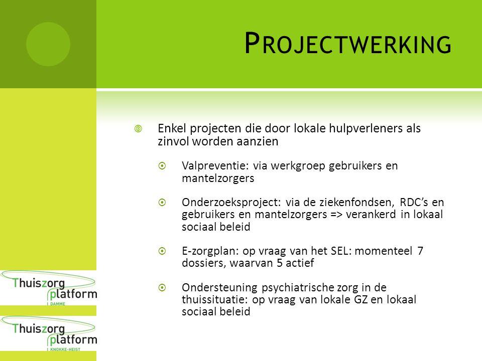P ROJECTWERKING  Enkel projecten die door lokale hulpverleners als zinvol worden aanzien  Valpreventie: via werkgroep gebruikers en mantelzorgers 