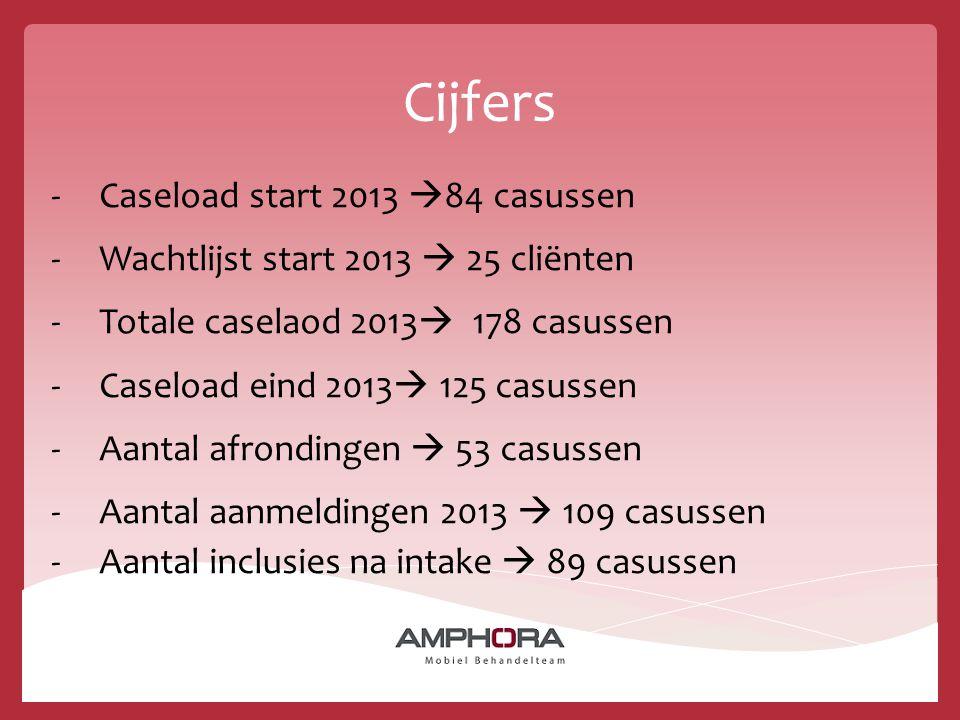 Cijfers -Caseload start 2013  84 casussen -Wachtlijst start 2013  25 cliënten -Totale caselaod 2013  178 casussen -Caseload eind 2013  125 casusse