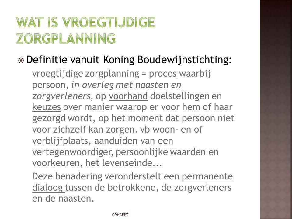  Definitie vanuit Koning Boudewijnstichting: vroegtijdige zorgplanning = proces waarbij persoon, in overleg met naasten en zorgverleners, op voorhand