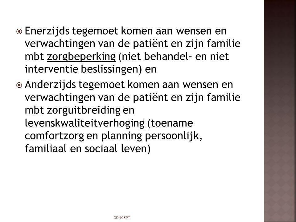  Enerzijds tegemoet komen aan wensen en verwachtingen van de patiënt en zijn familie mbt zorgbeperking (niet behandel- en niet interventie beslissing