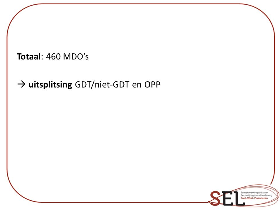 Totaal: 460 MDO's  uitsplitsing GDT/niet-GDT en OPP