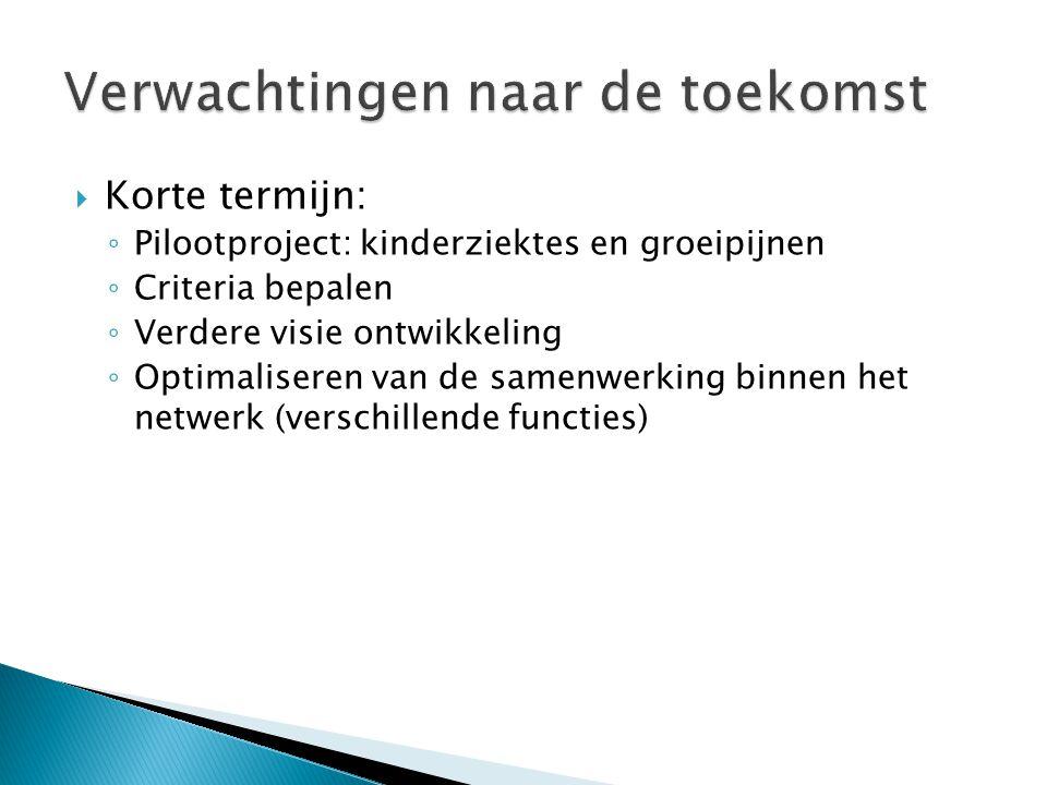  Korte termijn: ◦ Pilootproject: kinderziektes en groeipijnen ◦ Criteria bepalen ◦ Verdere visie ontwikkeling ◦ Optimaliseren van de samenwerking binnen het netwerk (verschillende functies)