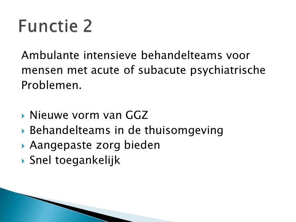 Functie 2 Regio Midden – West - Vlaanderen Functie 2A Mobiel Team Acute Zorg (MTA) Functie 2B Mobiel Team Langdurige Zorg (MTL)