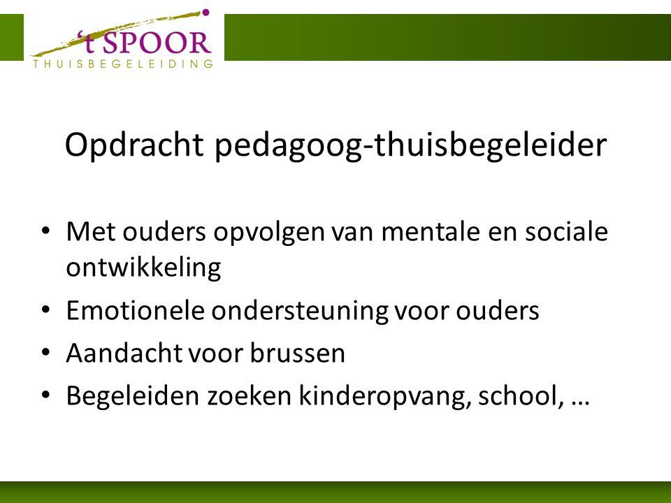 Opdracht pedagoog-thuisbegeleider Met ouders opvolgen van mentale en sociale ontwikkeling Emotionele ondersteuning voor ouders Aandacht voor brussen Begeleiden zoeken kinderopvang, school, …