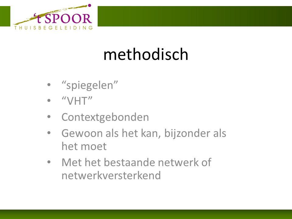 methodisch spiegelen VHT Contextgebonden Gewoon als het kan, bijzonder als het moet Met het bestaande netwerk of netwerkversterkend