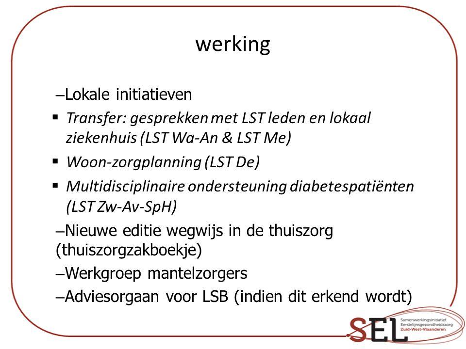 werking – Lokale initiatieven  Transfer: gesprekken met LST leden en lokaal ziekenhuis (LST Wa-An & LST Me)  Woon-zorgplanning (LST De)  Multidisciplinaire ondersteuning diabetespatiënten (LST Zw-Av-SpH) – Nieuwe editie wegwijs in de thuiszorg (thuiszorgzakboekje) – Werkgroep mantelzorgers – Adviesorgaan voor LSB (indien dit erkend wordt)