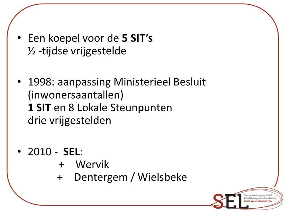 Een koepel voor de 5 SIT's ½ -tijdse vrijgestelde 1998: aanpassing Ministerieel Besluit (inwonersaantallen) 1 SIT en 8 Lokale Steunpunten drie vrijgestelden 2010 - SEL: + Wervik +Dentergem / Wielsbeke