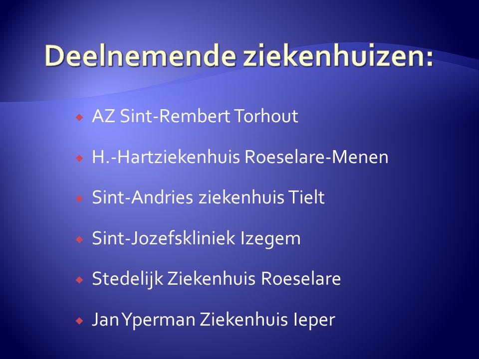  AZ Sint-Rembert Torhout  H.-Hartziekenhuis Roeselare-Menen  Sint-Andries ziekenhuis Tielt  Sint-Jozefskliniek Izegem  Stedelijk Ziekenhuis Roeselare  Jan Yperman Ziekenhuis Ieper