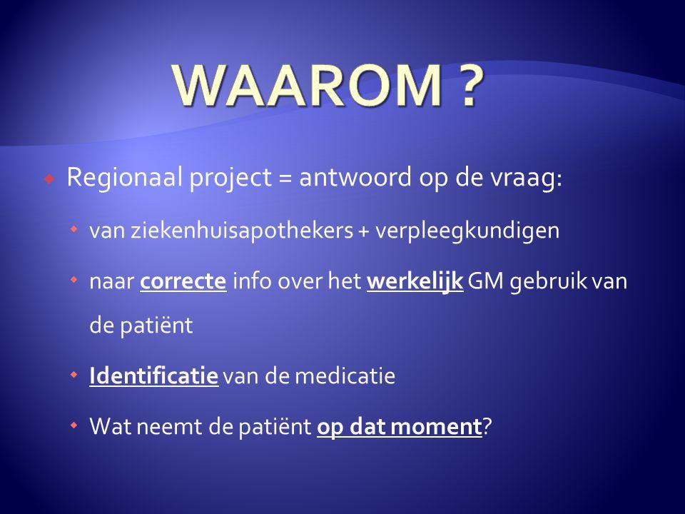  Regionaal project = antwoord op de vraag:  van ziekenhuisapothekers + verpleegkundigen  naar correcte info over het werkelijk GM gebruik van de patiënt  Identificatie van de medicatie  Wat neemt de patiënt op dat moment?