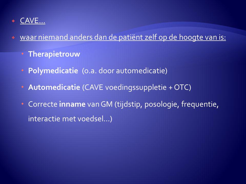  CAVE…  waar niemand anders dan de patiënt zelf op de hoogte van is:  Therapietrouw  Polymedicatie (o.a.