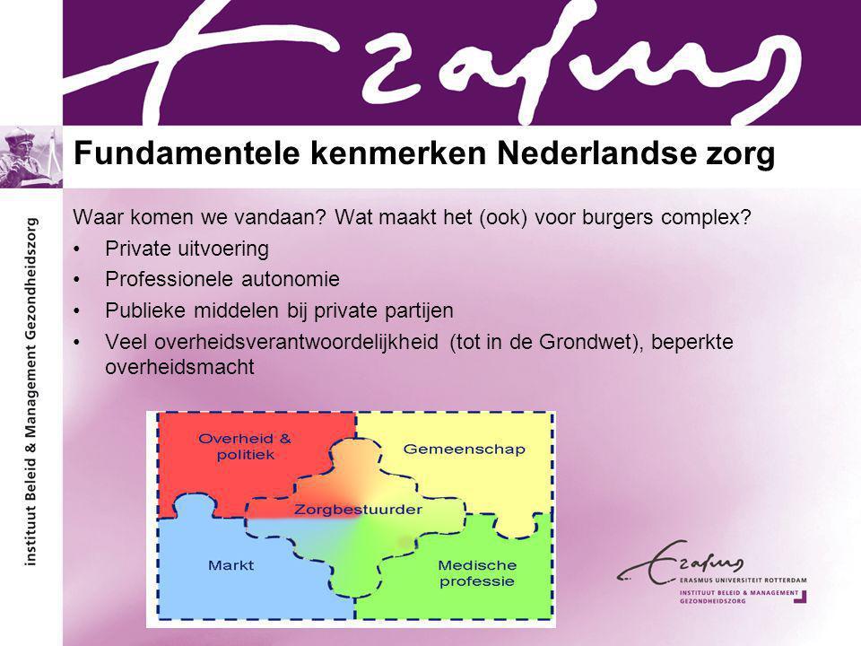 Fundamentele kenmerken Nederlandse zorg Waar komen we vandaan? Wat maakt het (ook) voor burgers complex? Private uitvoering Professionele autonomie Pu
