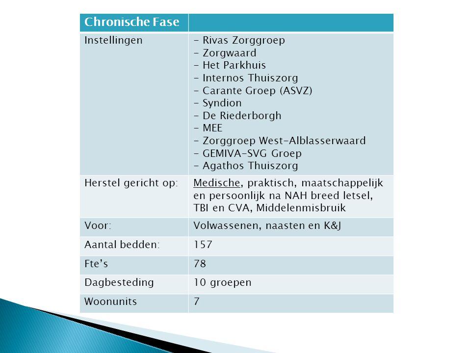 Chronische Fase Instellingen- Rivas Zorggroep - Zorgwaard - Het Parkhuis - Internos Thuiszorg - Carante Groep (ASVZ) - Syndion - De Riederborgh - MEE