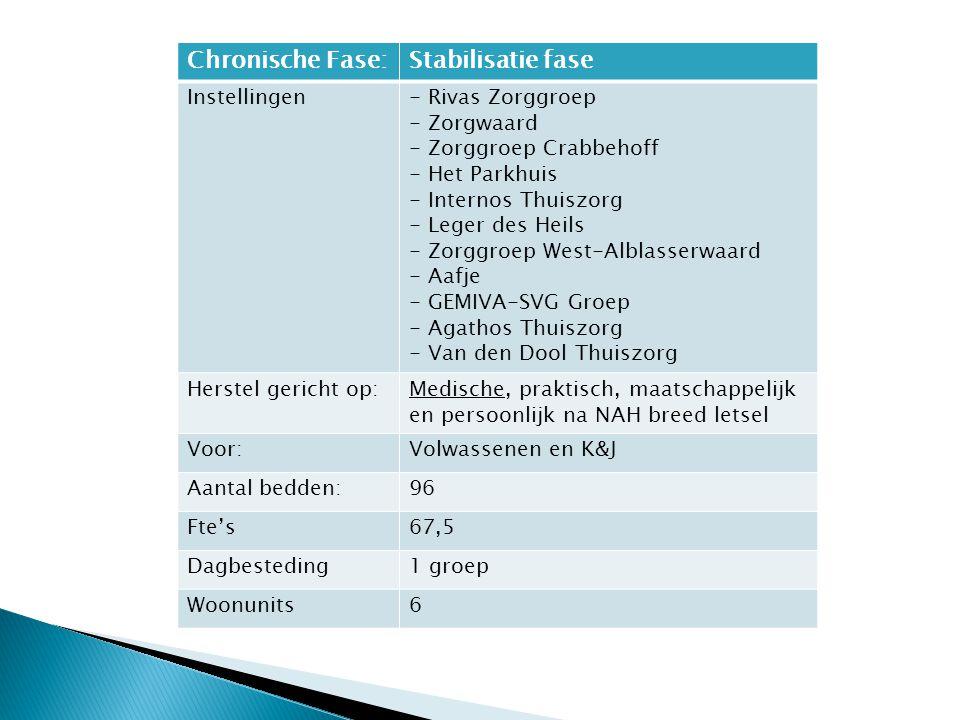 Chronische Fase:Stabilisatie fase Instellingen- Rivas Zorggroep - Zorgwaard - Zorggroep Crabbehoff - Het Parkhuis - Internos Thuiszorg - Leger des Hei
