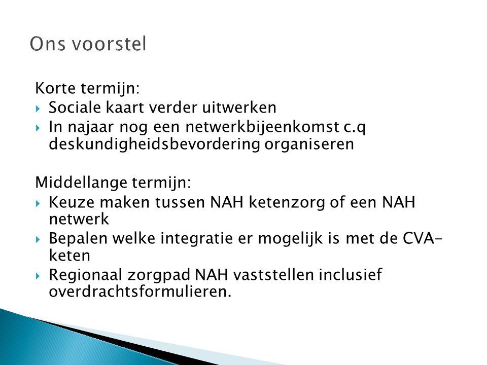 Korte termijn:  Sociale kaart verder uitwerken  In najaar nog een netwerkbijeenkomst c.q deskundigheidsbevordering organiseren Middellange termijn: