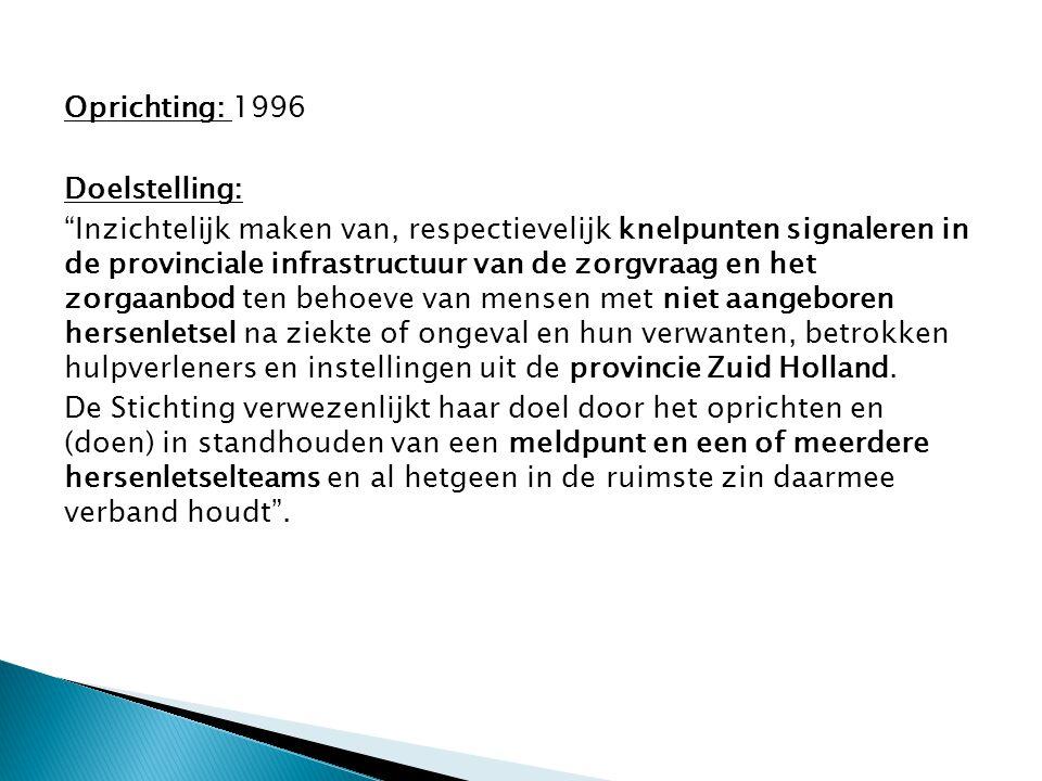 """Oprichting: 1996 Doelstelling: """"Inzichtelijk maken van, respectievelijk knelpunten signaleren in de provinciale infrastructuur van de zorgvraag en het"""