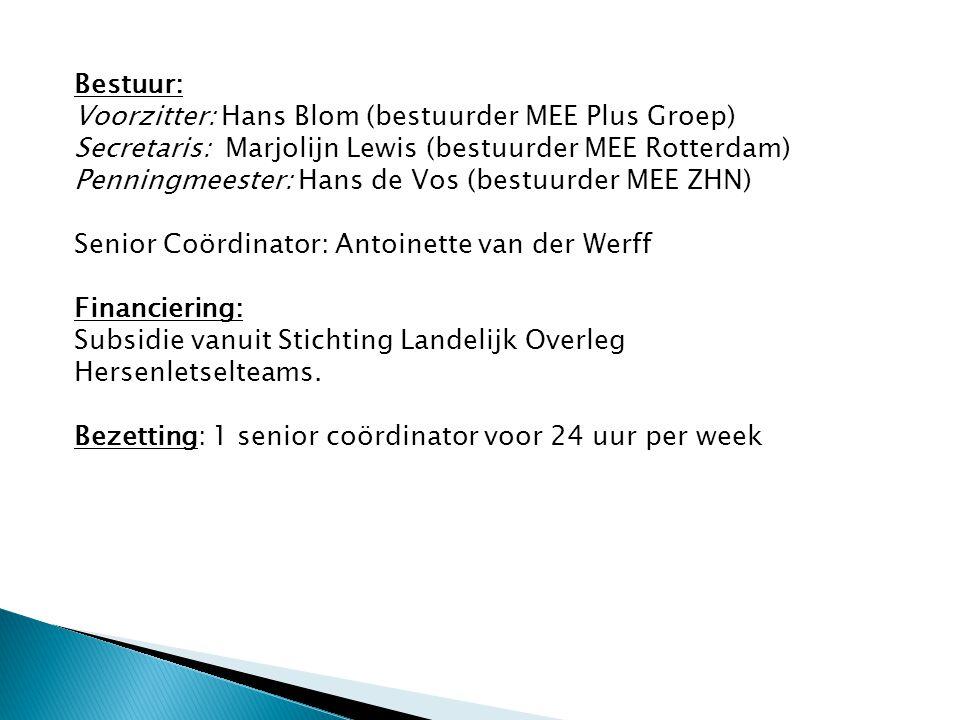 Bestuur: Voorzitter: Hans Blom (bestuurder MEE Plus Groep) Secretaris: Marjolijn Lewis (bestuurder MEE Rotterdam) Penningmeester: Hans de Vos (bestuur