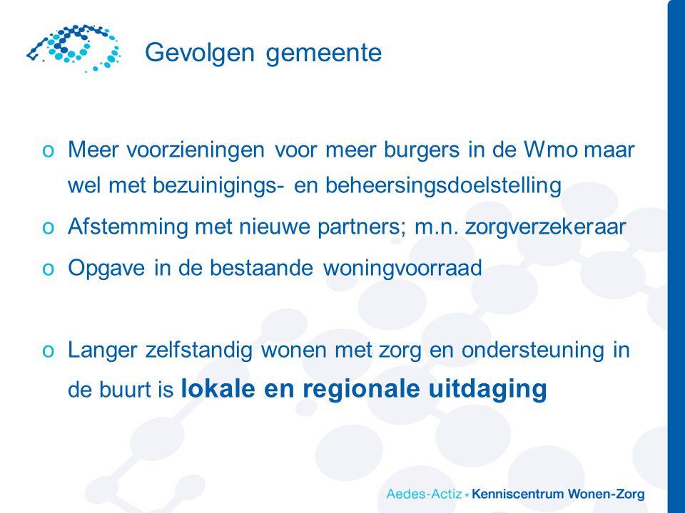 Gevolgen gemeente oMeer voorzieningen voor meer burgers in de Wmo maar wel met bezuinigings- en beheersingsdoelstelling oAfstemming met nieuwe partners; m.n.