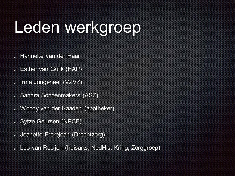 Leden werkgroep Hanneke van der Haar Esther van Gulik (HAP) Irma Jongeneel (VZVZ) Sandra Schoenmakers (ASZ) Woody van der Kaaden (apotheker) Sytze Geu