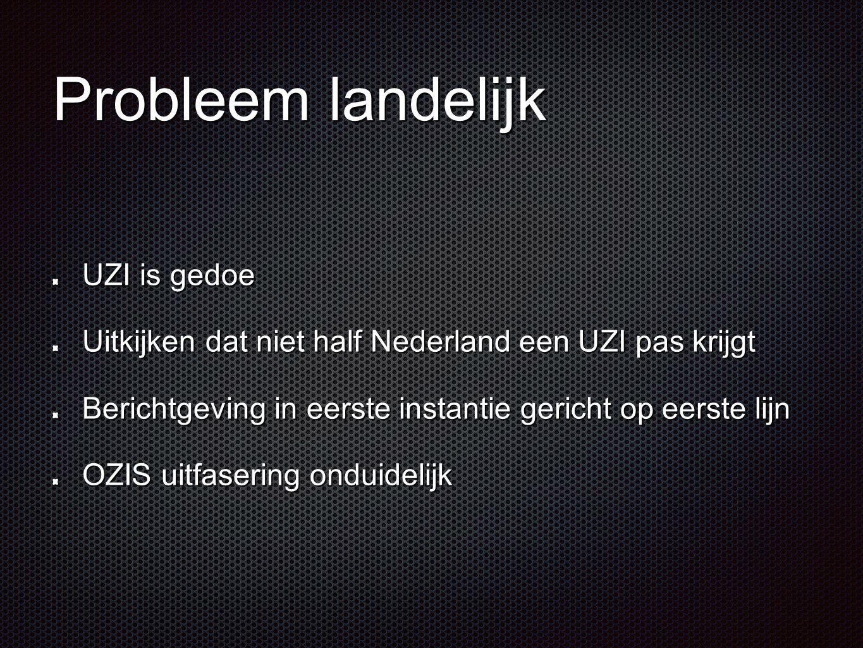 Probleem landelijk UZI is gedoe Uitkijken dat niet half Nederland een UZI pas krijgt Berichtgeving in eerste instantie gericht op eerste lijn OZIS uit