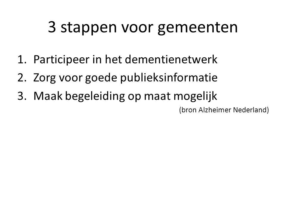3 stappen voor gemeenten 1.Participeer in het dementienetwerk 2.Zorg voor goede publieksinformatie 3.Maak begeleiding op maat mogelijk (bron Alzheimer Nederland)