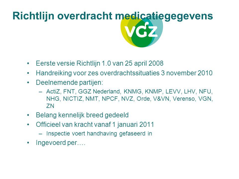 Richtlijn overdracht medicatiegegevens Eerste versie Richtlijn 1.0 van 25 april 2008 Handreiking voor zes overdrachtssituaties 3 november 2010 Deelnem