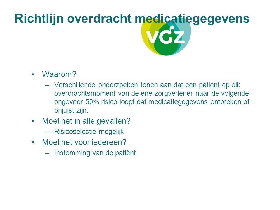 Richtlijn overdracht medicatiegegevens Waarom? –Verschillende onderzoeken tonen aan dat een patiënt op elk overdrachtsmoment van de ene zorgverlener n