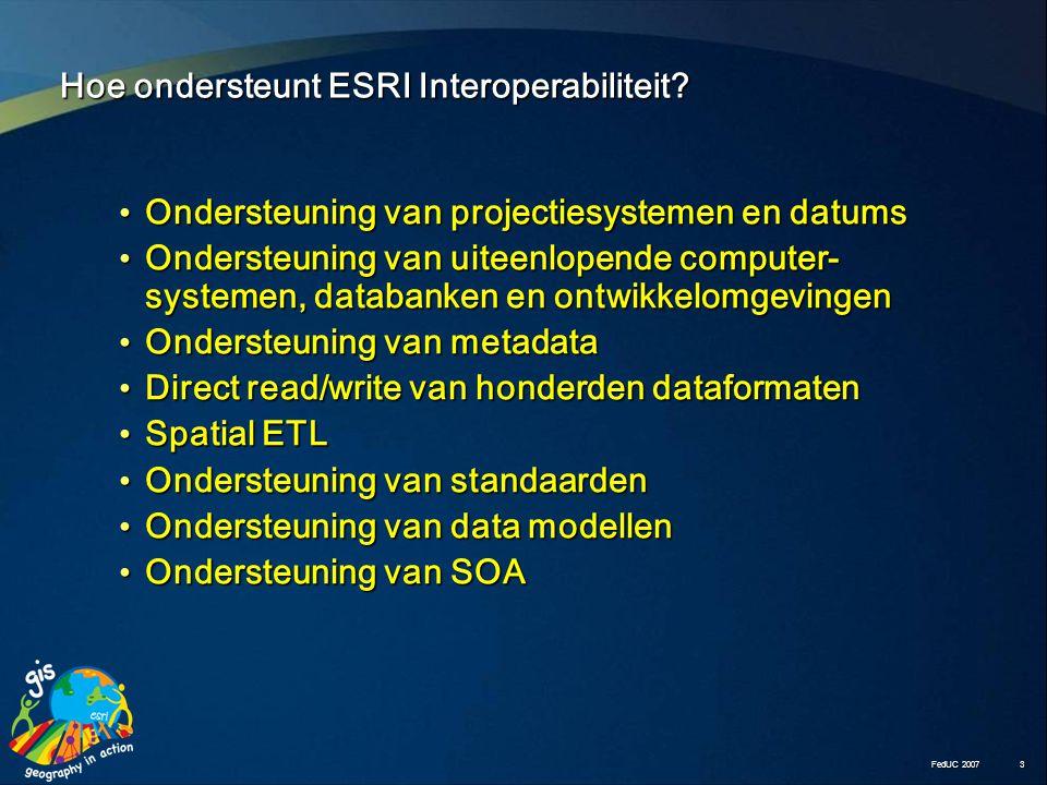 FedUC 2007 3 Hoe ondersteunt ESRI Interoperabiliteit.