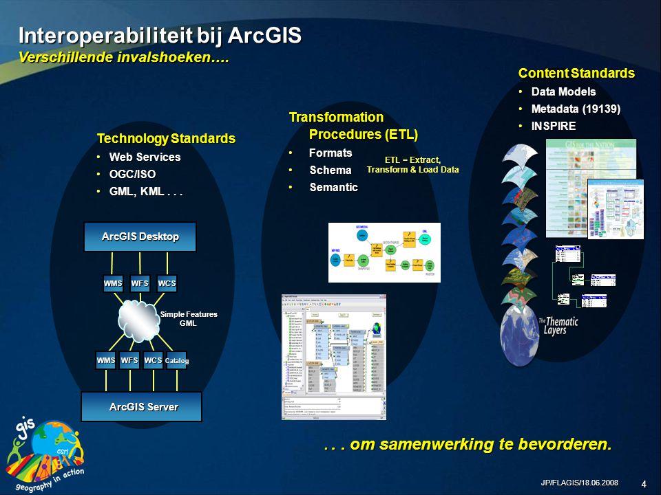 JP/FLAGIS/18.06.2008 15 Waterwegen Business Applications Telefoongids Gebouwen- beheer Wegen Utilities ArcGIS Server & Services Oriented Architecture (SOA) Een Framework om GIS en Enterprise Systemen te integreren...