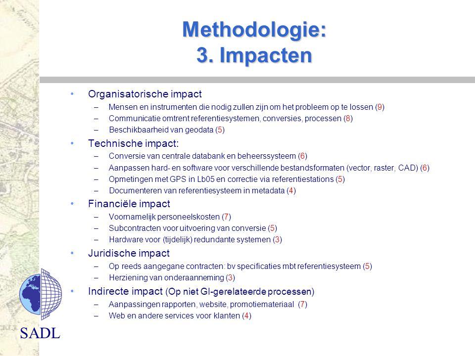 SADL Methodologie: 3. Impacten Organisatorische impact –Mensen en instrumenten die nodig zullen zijn om het probleem op te lossen (9) –Communicatie om